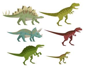 triceratops spinosaurus velociraptor tyrannosaurus rex stegosaurus and carnotaurus
