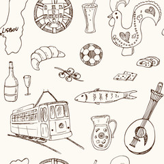 Portugal isolated elements and symbols. Hand drawn vector seamless pattern