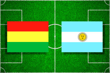 Flags of Bolivia - Argentina on the football field. Football qualifying matches 2018