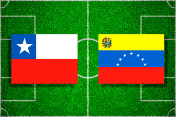 Flags of Chile - Venezuela on the football field. Football qualifying matches 2018