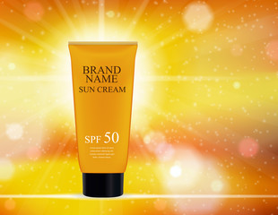 Sun Care Cream Bottle, Tube Template for Ads or Magazine Background. 3D Realistic Vector Iillustration