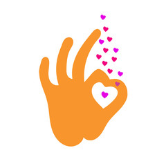 Hand OK sign with colored hearts