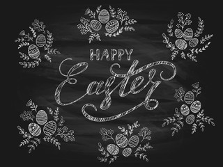 Black chalkboard background with decorative eggs and Happy Easter