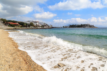 Datca city from Taslik beach Mugla, Turkey with waves