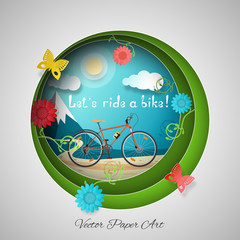 Vector paper art of Cycling in the mountains on the gradient gray and green background with bicycle, road, sun, clouds, mountains, flowers and butterflies.