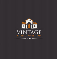 Vintage Upscale Condominium Creative Vector Emblem Concept