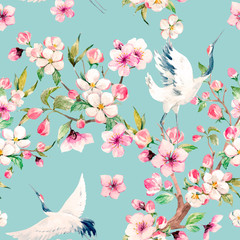 Watercolor crane with flowers vector pattern