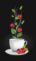 Vector realistic illustration of a teacup with hot drink and vapouring steam. The vapour lifts above cranberries, drops and tea leaves. Concept image for a scented berry tea