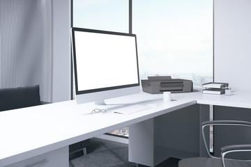 Blank white computer monitor