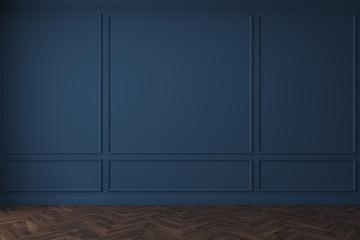 Empty dark blue room, dark floor