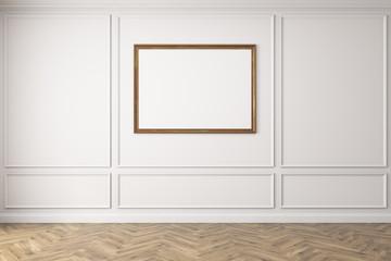 Horizontal poster in empty blue room, wooden floor