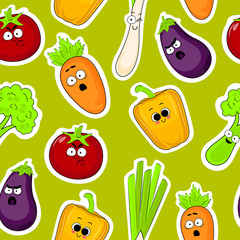 Cartoon vegetable cute characters face seamless vector illustration. Cartoon face food emoji. Vegetable emoticon. Funny food icons.