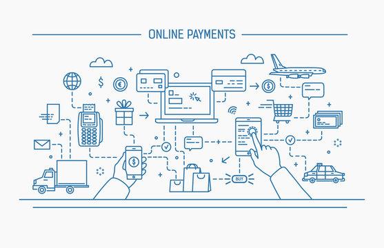 Line art flat contour vector illustration. online payments, money transfer, financial transaction.