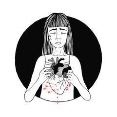 Sad and suffering girl loss of love. women, broken heart concept. hand drawn illustration