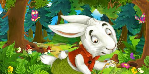 cartoon scene with running rabbit cheerful beautiful day
