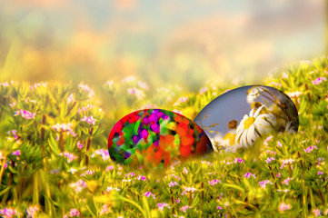 Easter background with colorful painted Easter eggs in the grass, with spring flowers. Easter resurrection background with copy space for text.