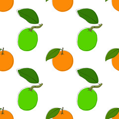 Vector seamless pattern background with hand drawn limes and oranges in vintage style. On white. Use for textile, fabric, paper, web, page, wallpaper etc.