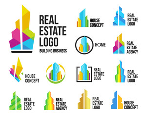 Isolated colorful real estate agency logos set, house logotype collection on white, home concept icons,skyscrapers vector illustration.