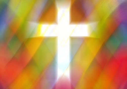 Light cross cut out on an Abstract pastel colorful background with copy space for text, rhombus elements a in church stained glass window style