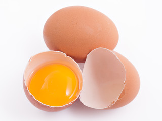 Close up view of eggs on the white background.