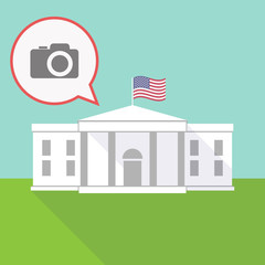 the White House with a balloon and a photo camera