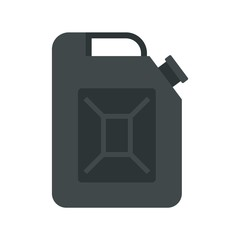 Black jerrycan icon, flat style