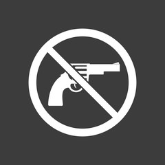 Isolated vector illustration of  a gun  in a not allowed signal