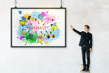 Businessman with business drawings in frame