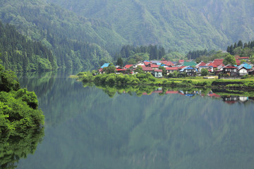 Village by Tadami River