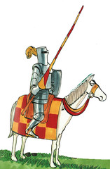Color illustration of a knight on a horse.