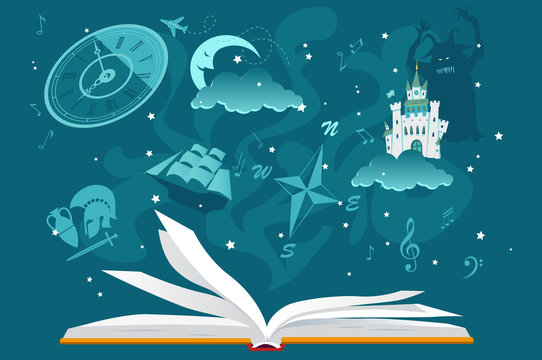Open book with imaginary fantastic images hovering over it, EPS 8 vector illustration, no transparencies