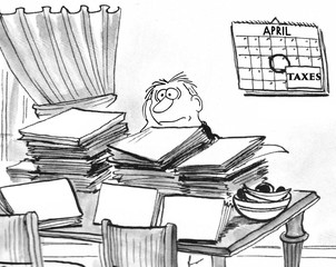 Cartoon showing a man surrounded by paperwork as he tried to prepare his taxes.