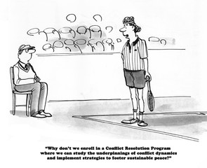 Tennis cartoon about a player and a judge contemplating conflict resolution.