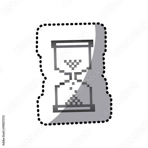 """grayscale Pixel Hourglass Icon, Vector Illustraction"