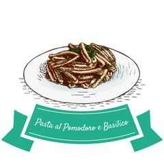 Pasta al Pomodoro e Basilico colorful illustration.