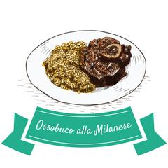 Ossobuco alla Milanese colorful illustration.