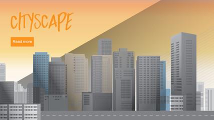 Sunset cityscape, Stylish minimalistic retro illustration Horizontal banners