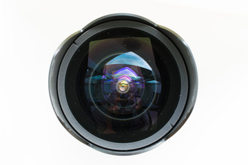 Fish eye lens close up.
