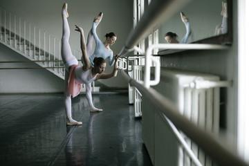 Female ballet dancers doing exercising at a ballet bare