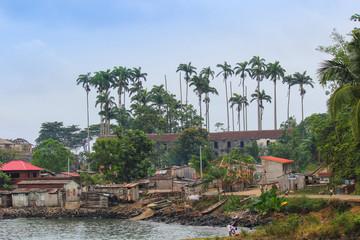 Village of Porto Alegre in island of Sao Tome and Principe - Africa