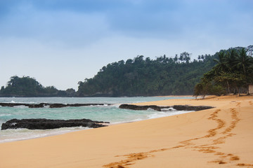 The beautiful beach Jale in island of Sao Tome and Principe - Africa