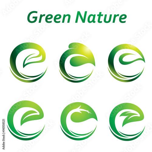 Green Leaf in E Letter Shape Logo Symbol Icon