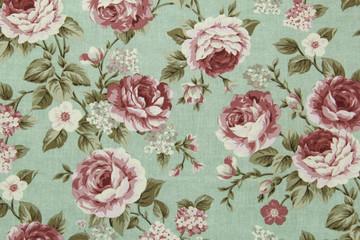 Papiers peints Fleurs Vintage Colorful Cotton fabric in vintage rose pattern for background or texture