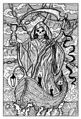 The Death, Grim Reaper. Engraved fantasy illustration. See all collection in my portfolio