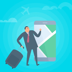 Businessman searchig for location on mobile phone map. Business trip, tourism and travel flat concept illustration. Man with luggage is using gps navigation app on the smartphone screen. Vector design
