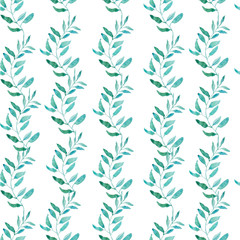 Seamless Pattern with Olive or Green Tea Leaves.