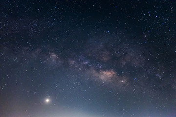 Milky way galaxy with stars and space dust in the universe, Long exposure photograph. with grain