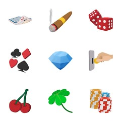 Casino game icons set, cartoon style