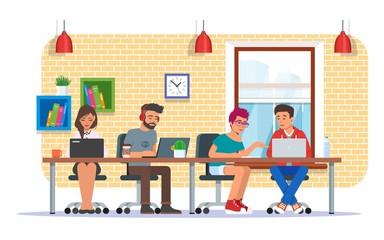 Coworking center vector illustration, flat style design