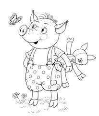 Three little pigs. Fairy tale. A cute pig with his toy. Illustration for children. Coloring page